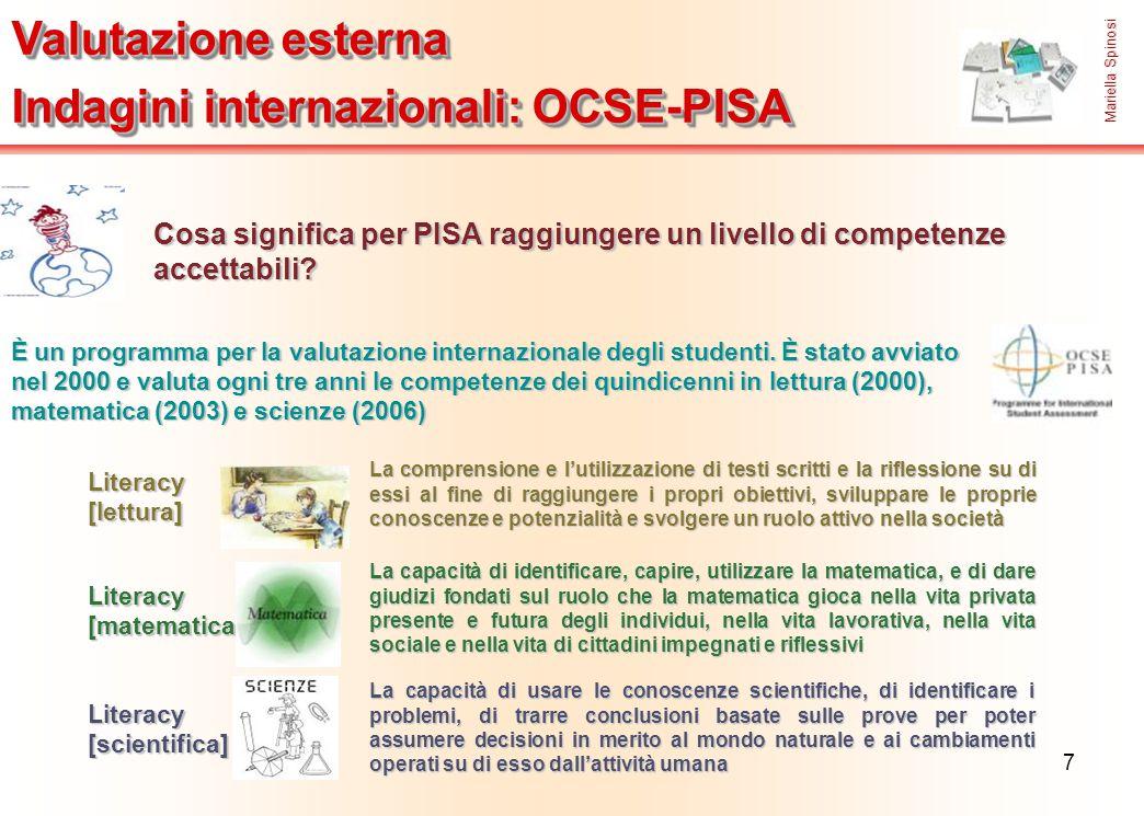 7 Valutazione esterna Indagini internazionali: OCSE-PISA Valutazione esterna Indagini internazionali: OCSE-PISA Cosa significa per PISA raggiungere un
