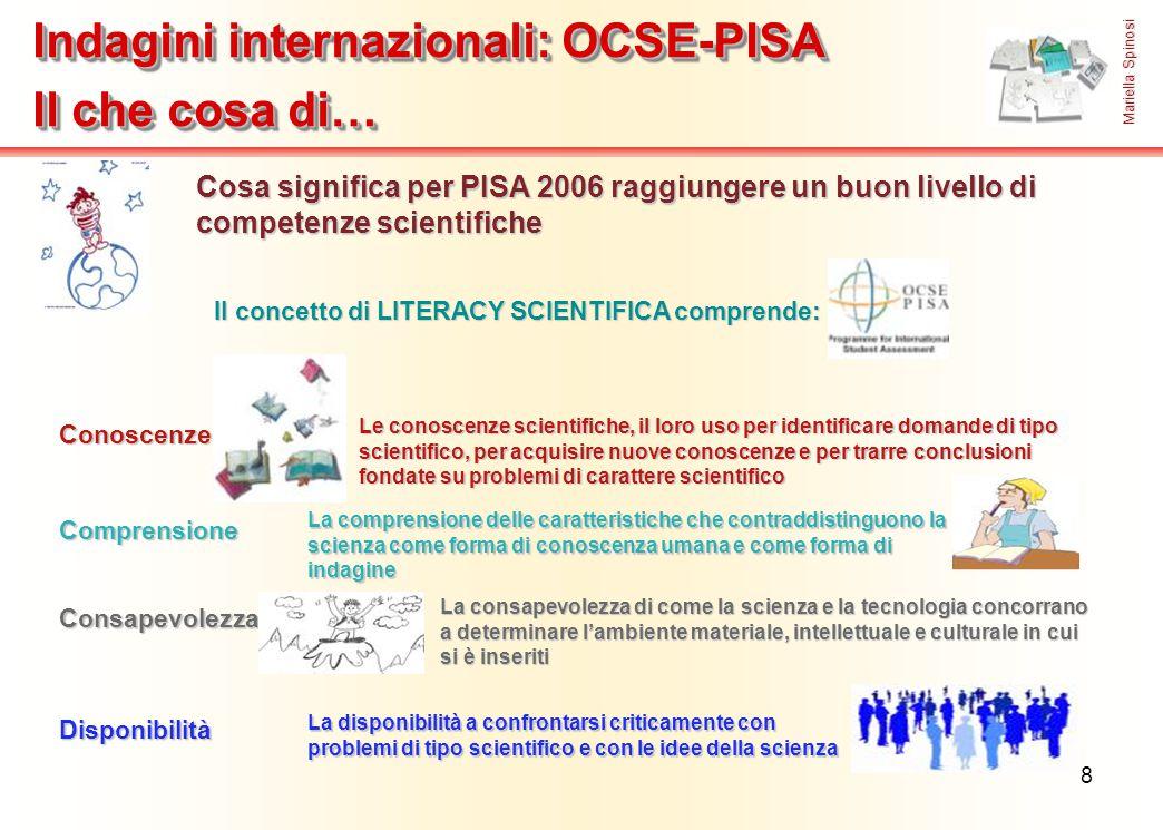 8 Cosa significa per PISA 2006 raggiungere un buon livello di competenze scientifiche Il concetto di LITERACY SCIENTIFICA comprende: Conoscenze Consap