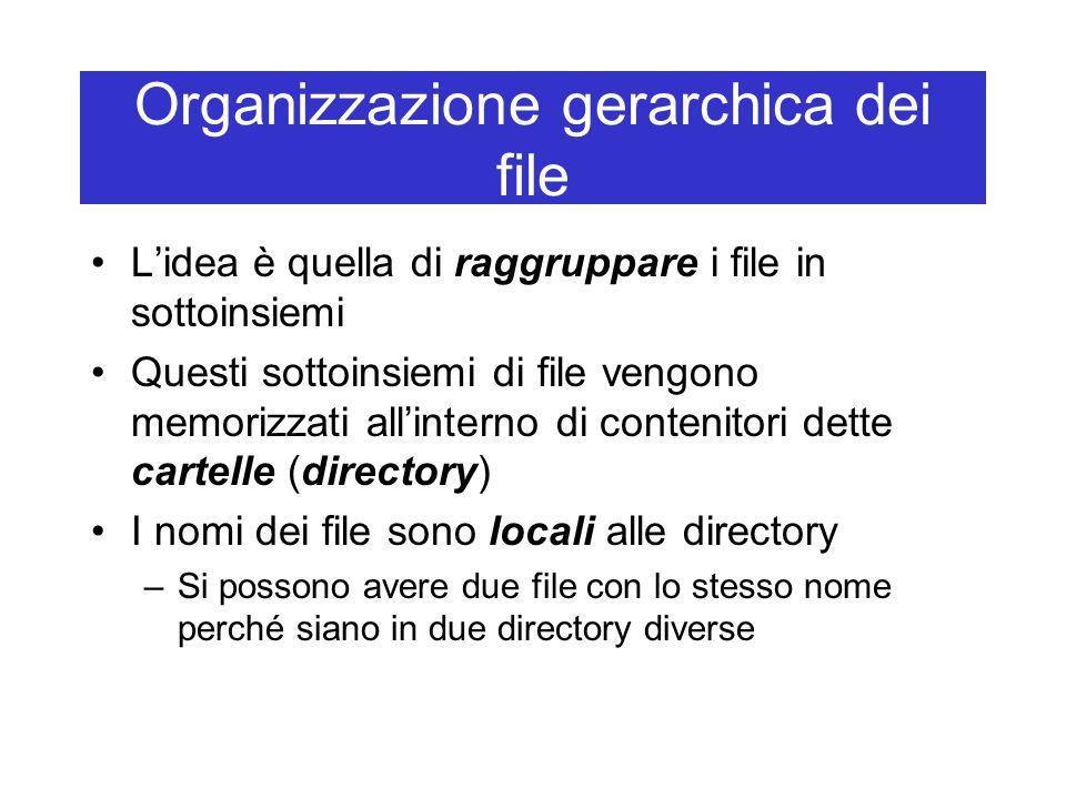 Organizzazione gerarchica dei file L'idea è quella di raggruppare i file in sottoinsiemi Questi sottoinsiemi di file vengono memorizzati all'interno di contenitori dette cartelle (directory) I nomi dei file sono locali alle directory –Si possono avere due file con lo stesso nome perché siano in due directory diverse