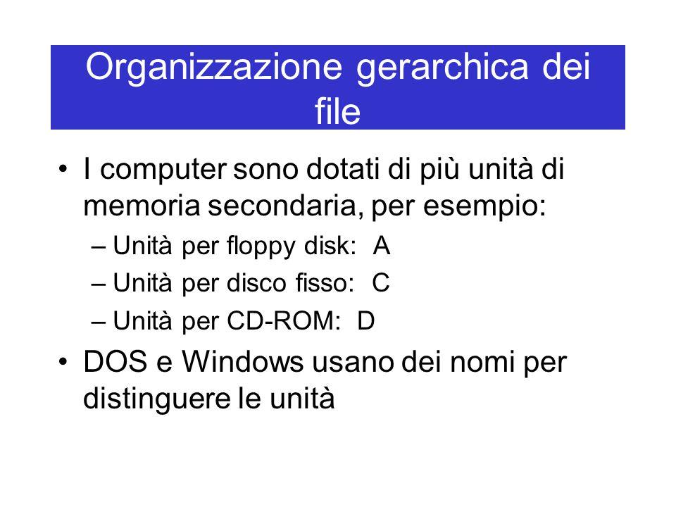 Organizzazione gerarchica dei file I computer sono dotati di più unità di memoria secondaria, per esempio: –Unità per floppy disk: A –Unità per disco fisso: C –Unità per CD-ROM: D DOS e Windows usano dei nomi per distinguere le unità