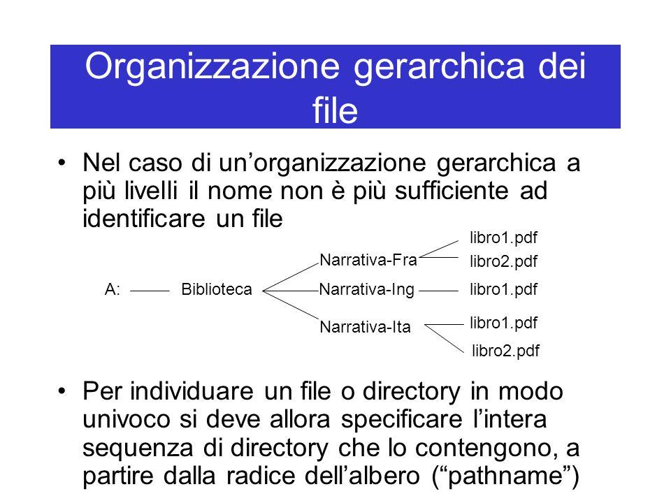 Organizzazione gerarchica dei file Nel caso di un'organizzazione gerarchica a più livelli il nome non è più sufficiente ad identificare un file Per individuare un file o directory in modo univoco si deve allora specificare l'intera sequenza di directory che lo contengono, a partire dalla radice dell'albero ( pathname ) Biblioteca Narrativa-Fra Narrativa-Ing Narrativa-Ita libro1.pdf libro2.pdf libro1.pdf libro2.pdf A: