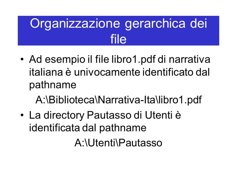 Organizzazione gerarchica dei file Ad esempio il file libro1.pdf di narrativa italiana è univocamente identificato dal pathname A:\Biblioteca\Narrativa-Ita\libro1.pdf La directory Pautasso di Utenti è identificata dal pathname A:\Utenti\Pautasso