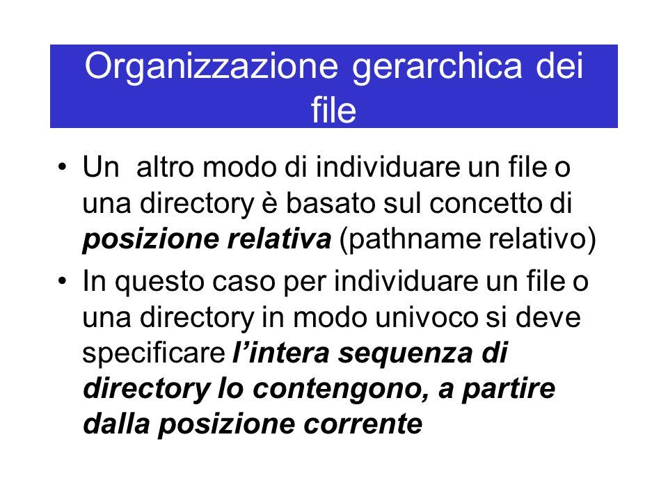 Organizzazione gerarchica dei file Un altro modo di individuare un file o una directory è basato sul concetto di posizione relativa (pathname relativo) In questo caso per individuare un file o una directory in modo univoco si deve specificare l'intera sequenza di directory lo contengono, a partire dalla posizione corrente