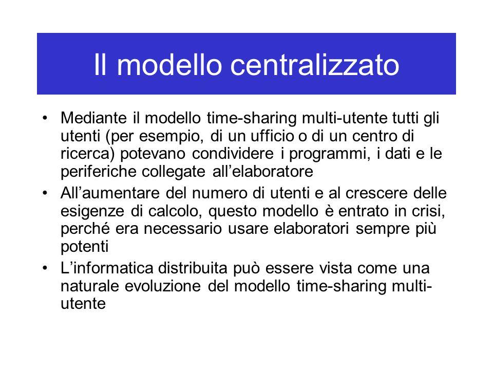 Il modello centralizzato Mediante il modello time-sharing multi-utente tutti gli utenti (per esempio, di un ufficio o di un centro di ricerca) potevano condividere i programmi, i dati e le periferiche collegate all'elaboratore All'aumentare del numero di utenti e al crescere delle esigenze di calcolo, questo modello è entrato in crisi, perché era necessario usare elaboratori sempre più potenti L'informatica distribuita può essere vista come una naturale evoluzione del modello time-sharing multi- utente