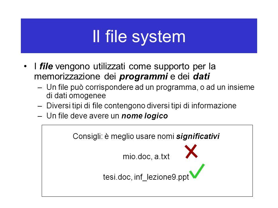 Il file system I file vengono utilizzati come supporto per la memorizzazione dei programmi e dei dati –Un file può corrispondere ad un programma, o ad un insieme di dati omogenee –Diversi tipi di file contengono diversi tipi di informazione –Un file deve avere un nome logico Consigli: è meglio usare nomi significativi mio.doc, a.txt tesi.doc, inf_lezione9.ppt