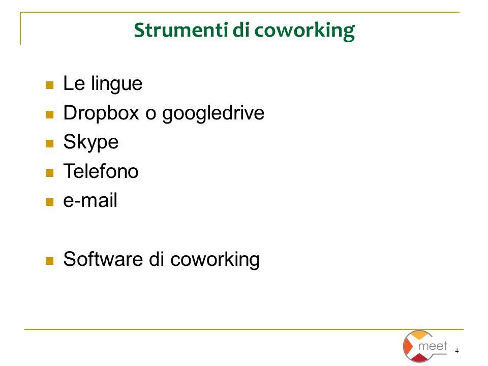 4 Strumenti di coworking Le lingue Dropbox o googledrive Skype Telefono e-mail Software di coworking