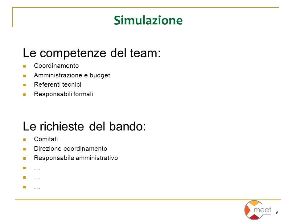 6 Simulazione Le competenze del team: Coordinamento Amministrazione e budget Referenti tecnici Responsabili formali Le richieste del bando: Comitati Direzione coordinamento Responsabile amministrativo …