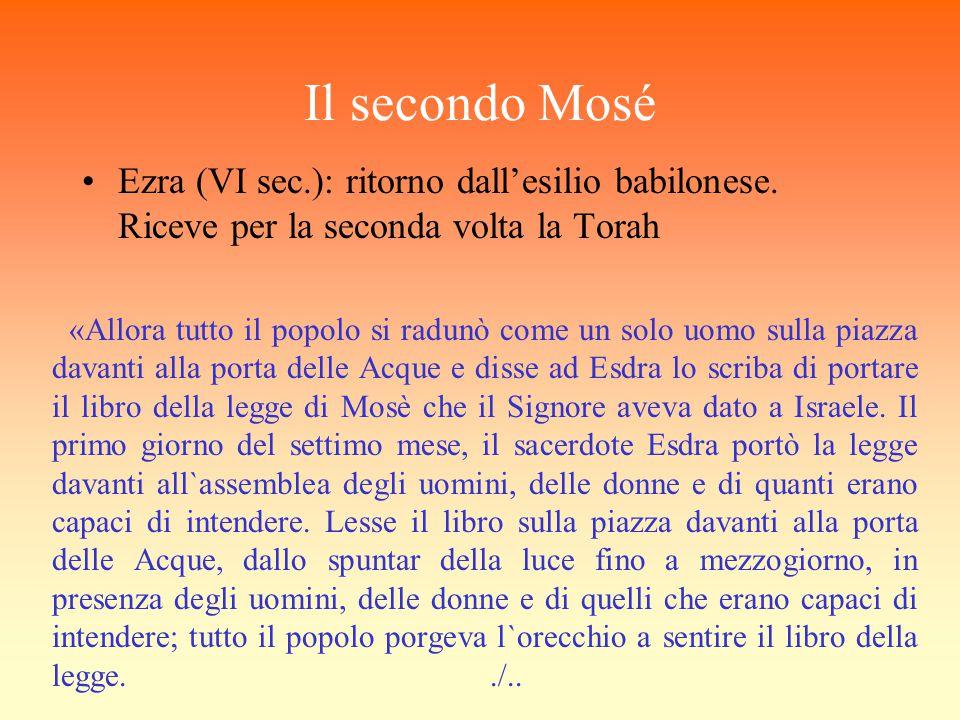 Il secondo Mosé Ezra (VI sec.): ritorno dall'esilio babilonese. Riceve per la seconda volta la Torah «Allora tutto il popolo si radunò come un solo uo