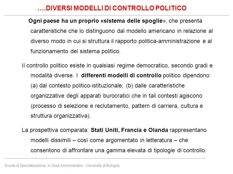 Scuola di Specializzazione in Studi Amministrativi - Università di Bologna Ogni paese ha un proprio «sistema delle spoglie», che presenta caratteristi