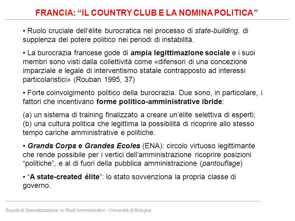 """Scuola di Specializzazione in Studi Amministrativi - Università di Bologna FRANCIA: """"IL COUNTRY CLUB E LA NOMINA POLITICA"""" Ruolo cruciale dell'élite b"""