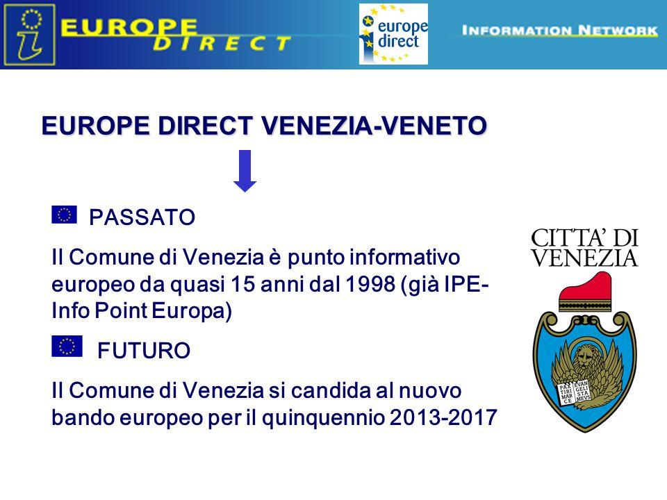 PASSATO Il Comune di Venezia è punto informativo europeo da quasi 15 anni dal 1998 (già IPE- Info Point Europa) FUTURO Il Comune di Venezia si candida al nuovo bando europeo per il quinquennio 2013-2017 EUROPE DIRECT VENEZIA-VENETO