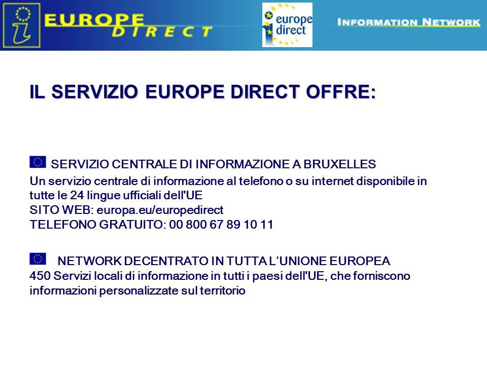 Europe Direct information relays SERVIZIO CENTRALE DI INFORMAZIONE A BRUXELLES Un servizio centrale di informazione al telefono o su internet disponibile in tutte le 24 lingue ufficiali dell UE SITO WEB: europa.eu/europedirect TELEFONO GRATUITO: 00 800 67 89 10 11 NETWORK DECENTRATO IN TUTTA L'UNIONE EUROPEA 450 Servizi locali di informazione in tutti i paesi dell UE, che forniscono informazioni personalizzate sul territorio IL SERVIZIO EUROPE DIRECT OFFRE: