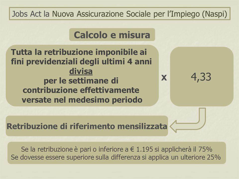 Jobs Act la Nuova Assicurazione Sociale per l'Impiego (Naspi) Calcolo e misura Tutta la retribuzione imponibile ai fini previdenziali degli ultimi 4 a