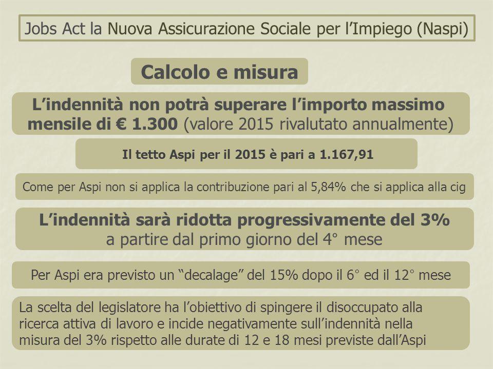 """Jobs Act la Nuova Assicurazione Sociale per l'Impiego (Naspi) Calcolo e misura Per Aspi era previsto un """"decalage"""" del 15% dopo il 6° ed il 12° mese L"""