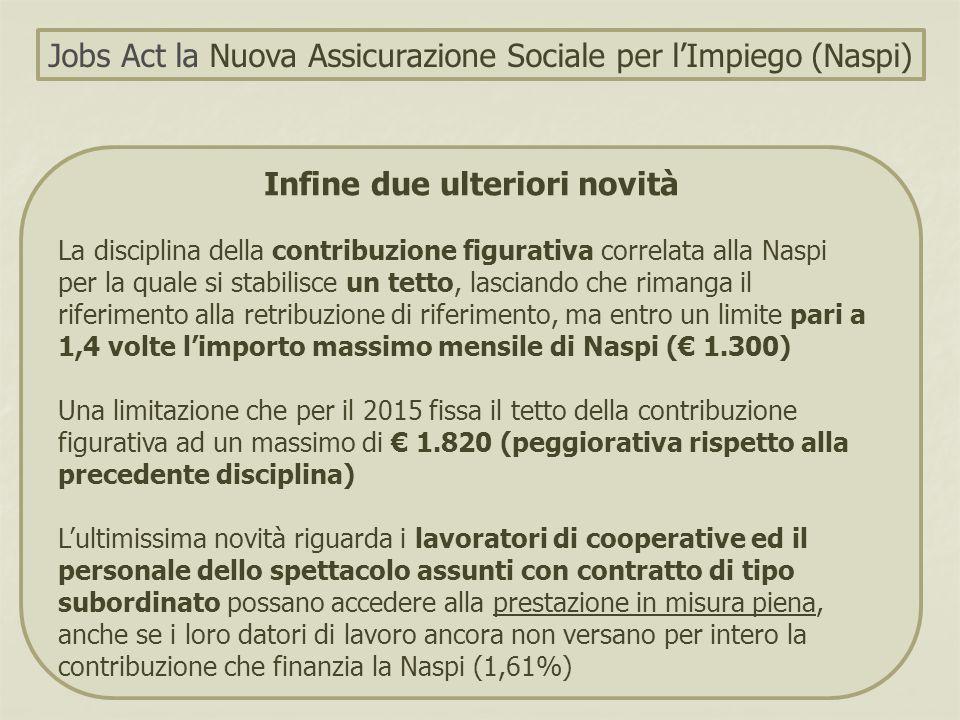 Infine due ulteriori novità La disciplina della contribuzione figurativa correlata alla Naspi per la quale si stabilisce un tetto, lasciando che riman