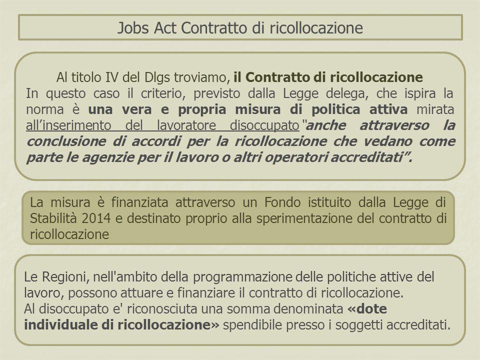 Le Regioni, nell'ambito della programmazione delle politiche attive del lavoro, possono attuare e finanziare il contratto di ricollocazione. Al disocc