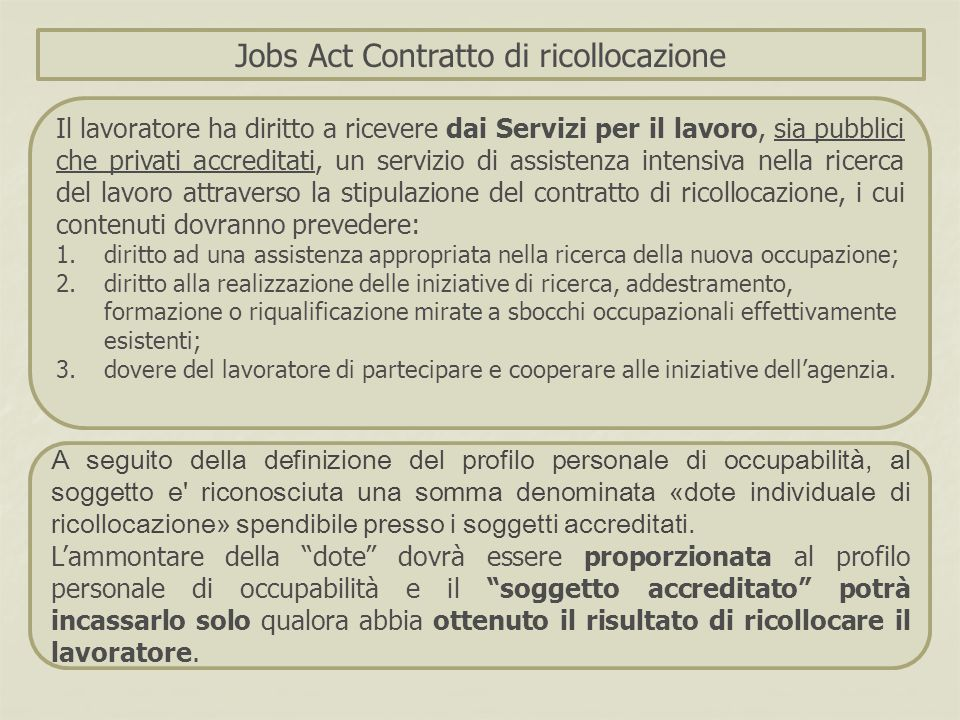 A seguito della definizione del profilo personale di occupabilità, al soggetto e' riconosciuta una somma denominata « dote individuale di ricollocazio