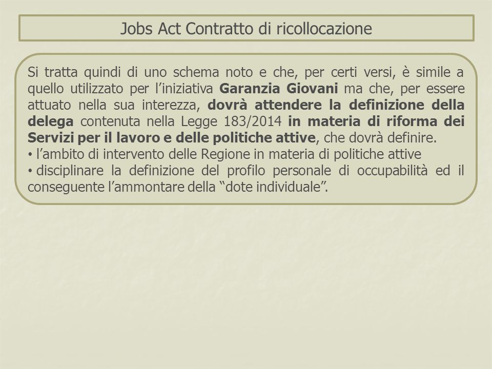 Jobs Act Contratto di ricollocazione Si tratta quindi di uno schema noto e che, per certi versi, è simile a quello utilizzato per l'iniziativa Garanzi