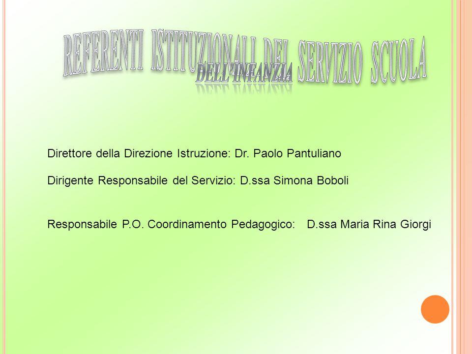 Direttore della Direzione Istruzione: Dr. Paolo Pantuliano Dirigente Responsabile del Servizio: D.ssa Simona Boboli Responsabile P.O. Coordinamento Pe