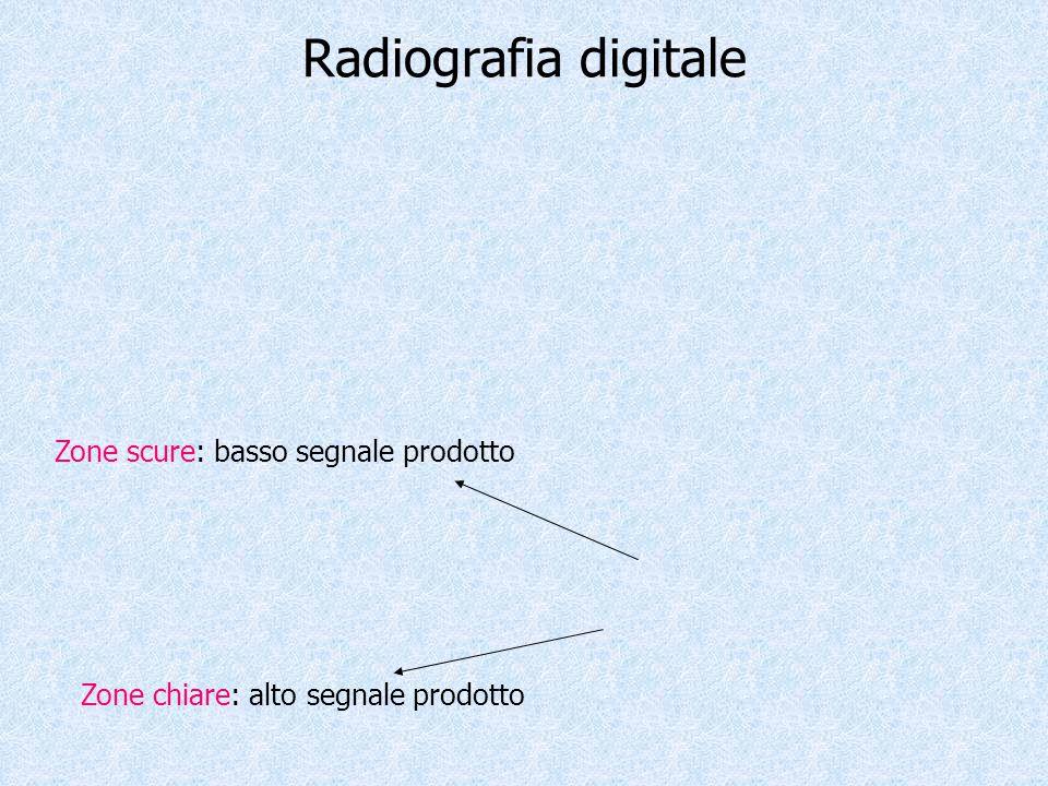 Radiografia digitale Zone chiare: alto segnale prodotto Zone scure: basso segnale prodotto