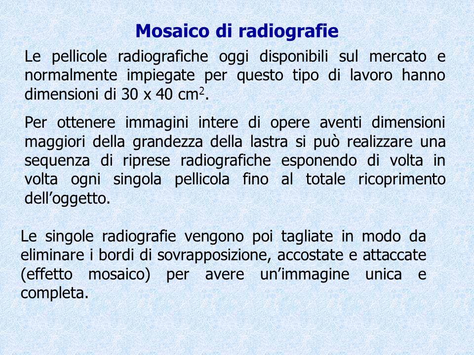 Mosaico di radiografie Le pellicole radiografiche oggi disponibili sul mercato e normalmente impiegate per questo tipo di lavoro hanno dimensioni di 3
