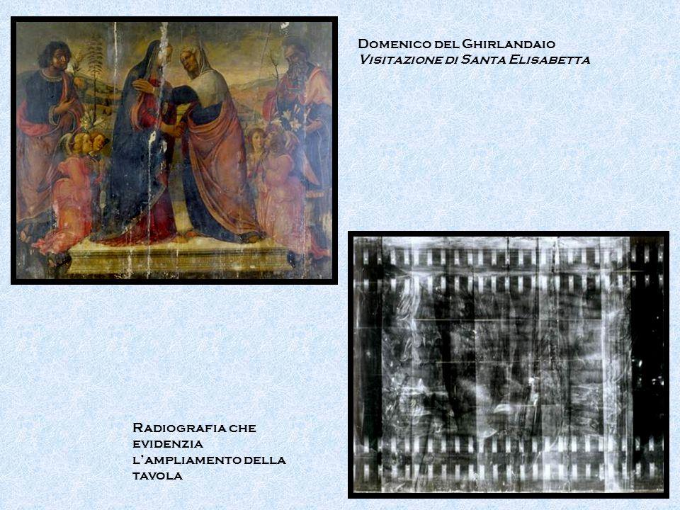 Domenico del Ghirlandaio Visitazione di Santa Elisabetta Radiografia che evidenzia l'ampliamento della tavola