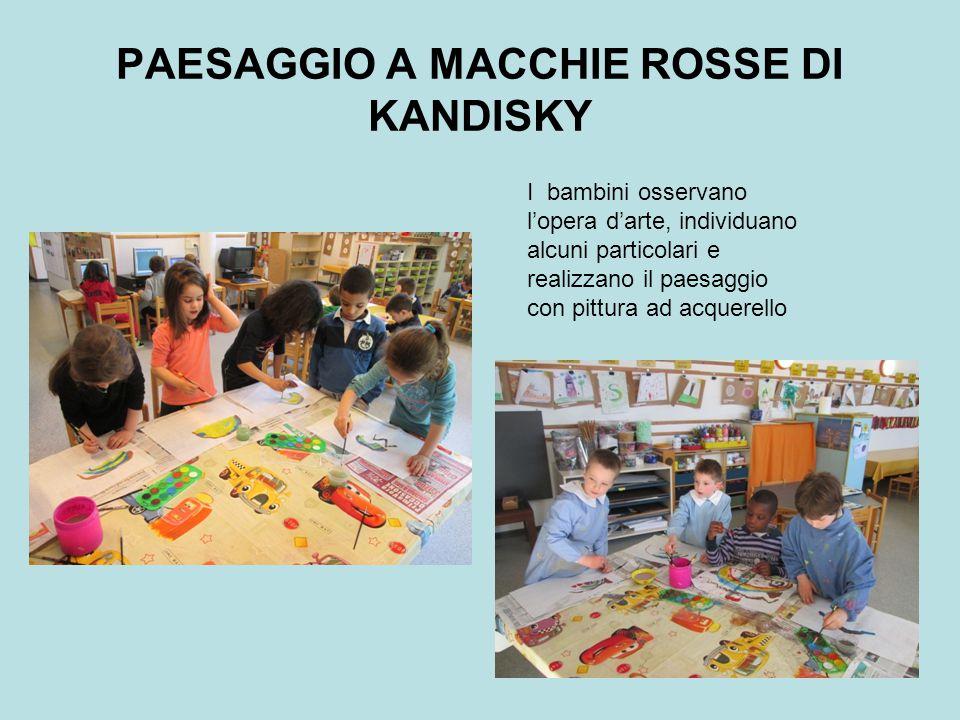 PAESAGGIO A MACCHIE ROSSE DI KANDISKY I bambini osservano l'opera d'arte, individuano alcuni particolari e realizzano il paesaggio con pittura ad acquerello