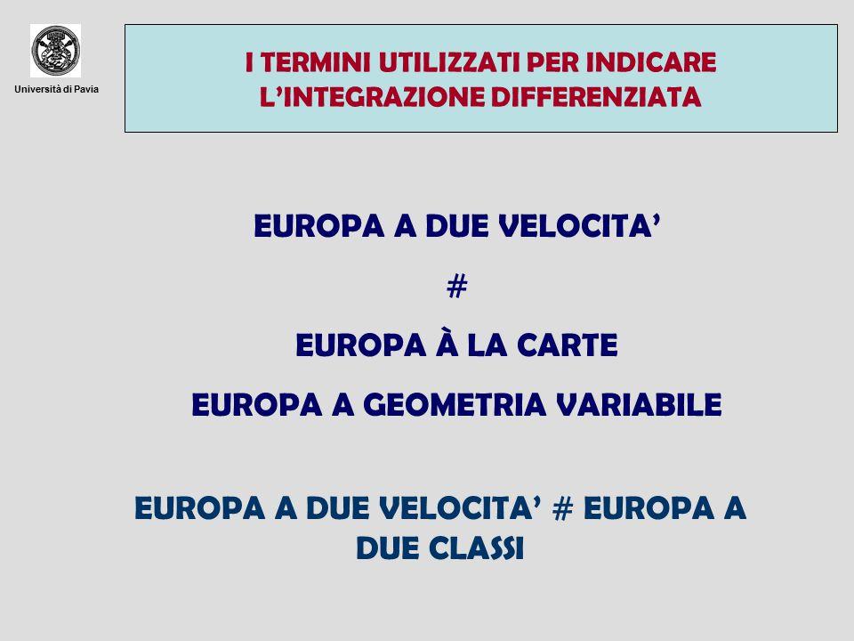 Università di Pavia I TERMINI UTILIZZATI PER INDICARE L'INTEGRAZIONE DIFFERENZIATA EUROPA A DUE VELOCITA' # EUROPA À LA CARTE EUROPA A GEOMETRIA VARIABILE EUROPA A DUE VELOCITA' # EUROPA A DUE CLASSI