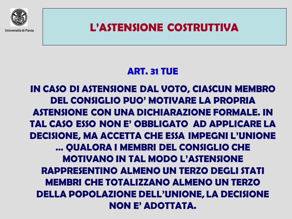 Università di Pavia L'ASTENSIONE COSTRUTTIVA ART. 31 TUE IN CASO DI ASTENSIONE DAL VOTO, CIASCUN MEMBRO DEL CONSIGLIO PUO' MOTIVARE LA PROPRIA ASTENSI