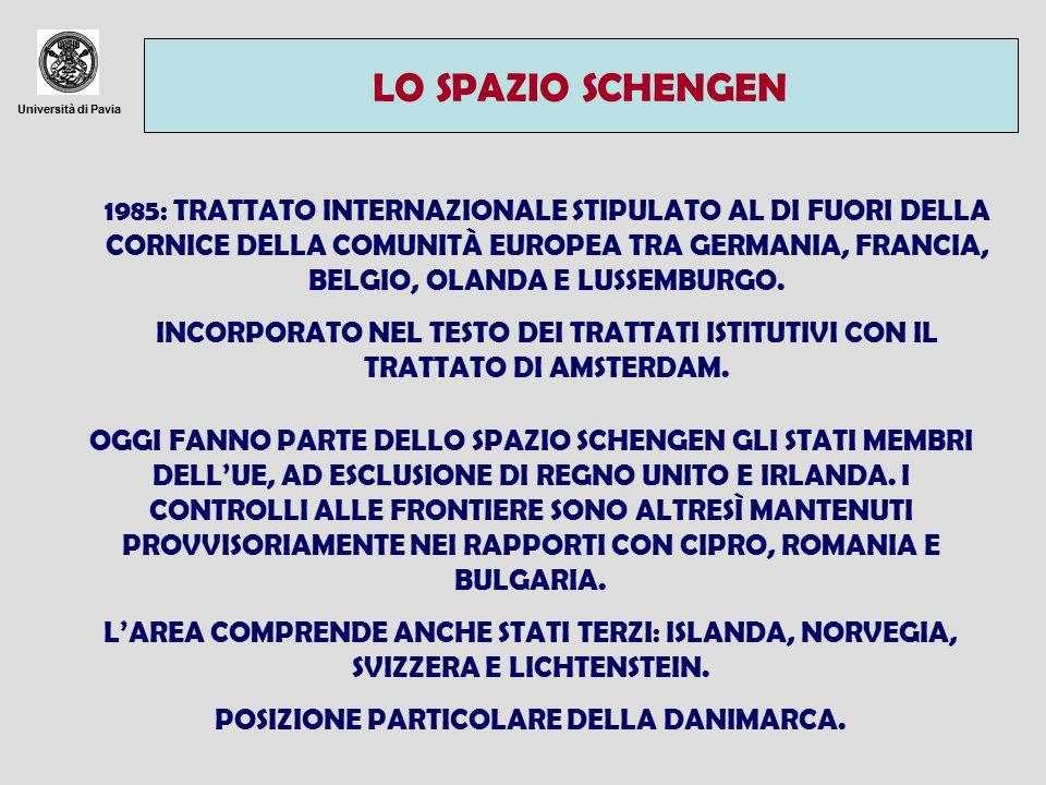Università di Pavia LO SPAZIO SCHENGEN 1985: TRATTATO INTERNAZIONALE STIPULATO AL DI FUORI DELLA CORNICE DELLA COMUNITÀ EUROPEA TRA GERMANIA, FRANCIA, BELGIO, OLANDA E LUSSEMBURGO.