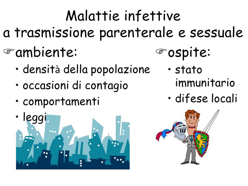 Malattie infettive a trasmissione parenterale e sessuale  ambiente: densit à della popolazione occasioni di contagio comportamenti leggi  ospite: stato immunitario difese locali