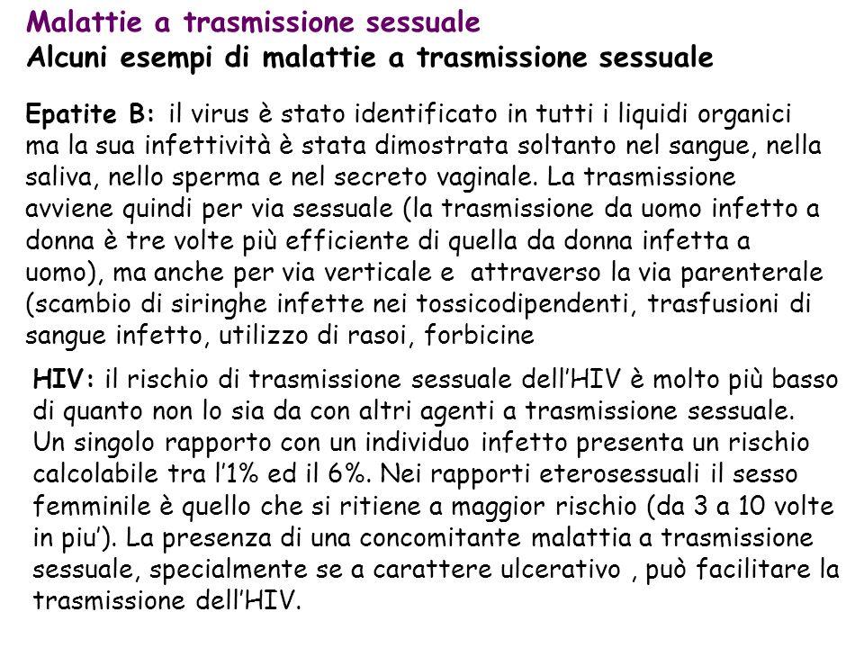 Epatite B: il virus è stato identificato in tutti i liquidi organici ma la sua infettività è stata dimostrata soltanto nel sangue, nella saliva, nello sperma e nel secreto vaginale.