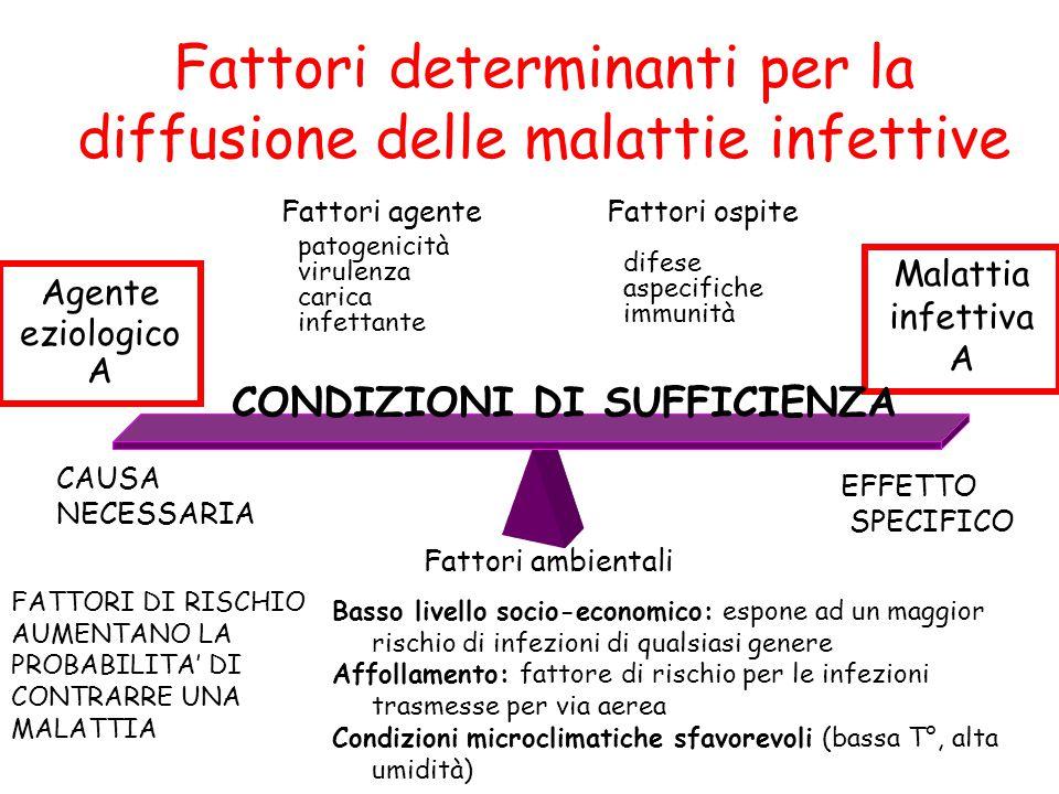 Fattori determinanti per la diffusione delle malattie infettive difese aspecifiche immunità Agente eziologico A Fattori agente patogenicità virulenza carica infettante Malattia infettiva A Fattori ambientali Fattori ospite CAUSA NECESSARIA EFFETTO SPECIFICO CONDIZIONI DI SUFFICIENZA FATTORI DI RISCHIO AUMENTANO LA PROBABILITA' DI CONTRARRE UNA MALATTIA Basso livello socio-economico: espone ad un maggior rischio di infezioni di qualsiasi genere Affollamento: fattore di rischio per le infezioni trasmesse per via aerea Condizioni microclimatiche sfavorevoli (bassa T°, alta umidità)