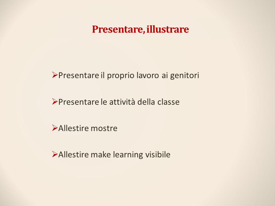 Presentare, illustrare  Presentare il proprio lavoro ai genitori  Presentare le attività della classe  Allestire mostre  Allestire make learning v