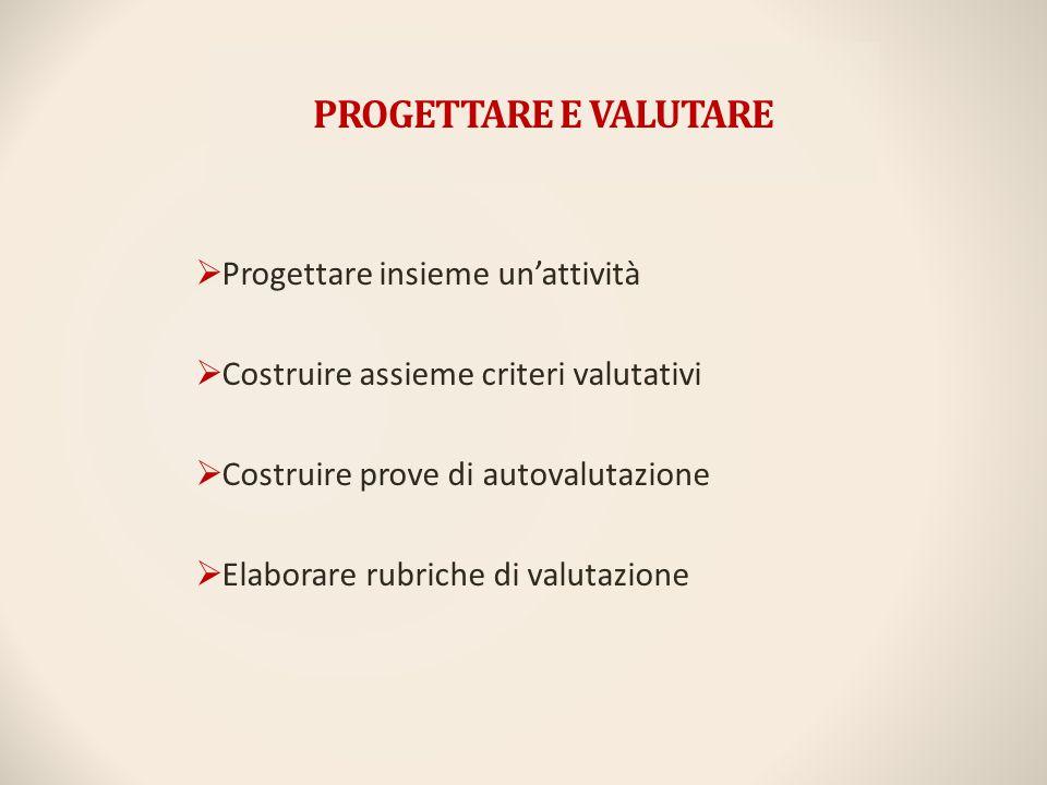 PROGETTARE E VALUTARE  Progettare insieme un'attività  Costruire assieme criteri valutativi  Costruire prove di autovalutazione  Elaborare rubrich
