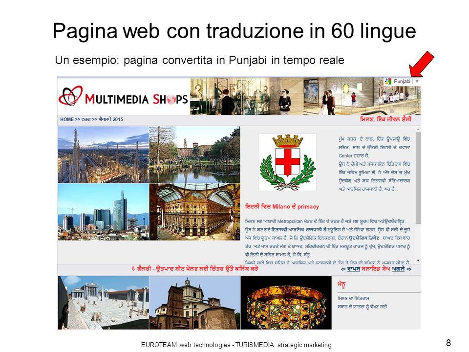 EUROTEAM web technologies - TURISMEDIA strategic marketing 9 Le risposte del marketing turistico I percorsi turistici suggeriti e i contenuti descrittivi dei POI saranno collegati a mappe digitali interattive.