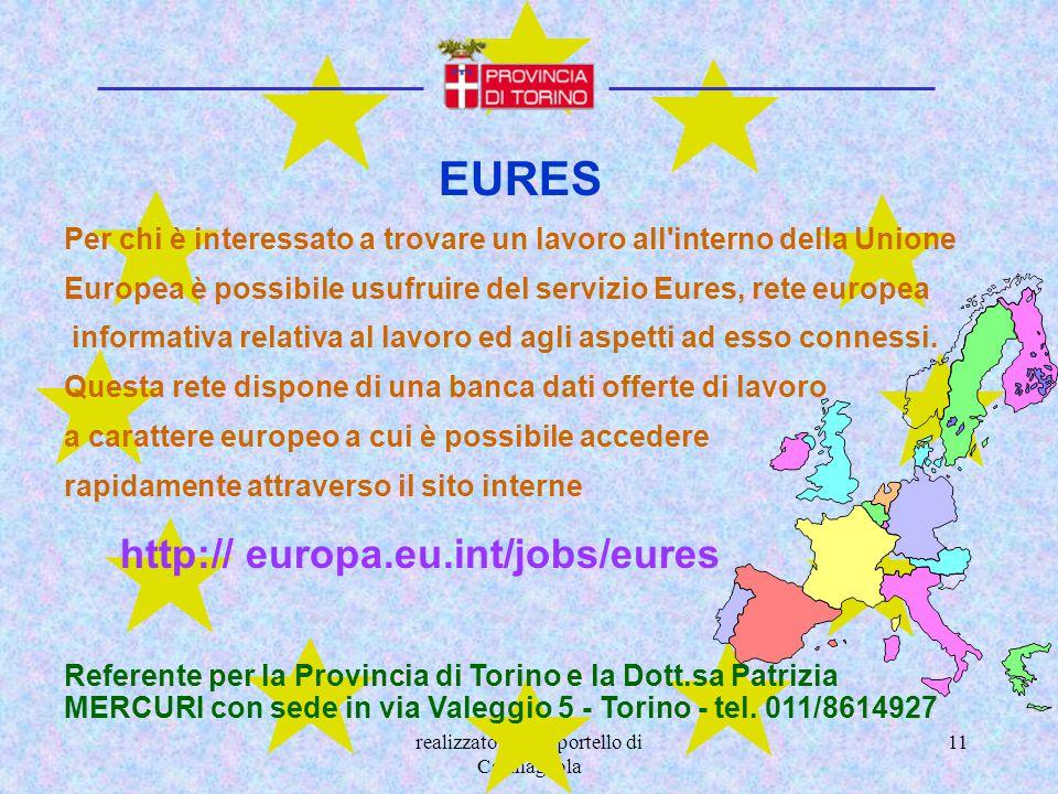 realizzato dallo sportello di Carmagnola 11 EURES Per chi è interessato a trovare un lavoro all'interno della Unione Europea è possibile usufruire del