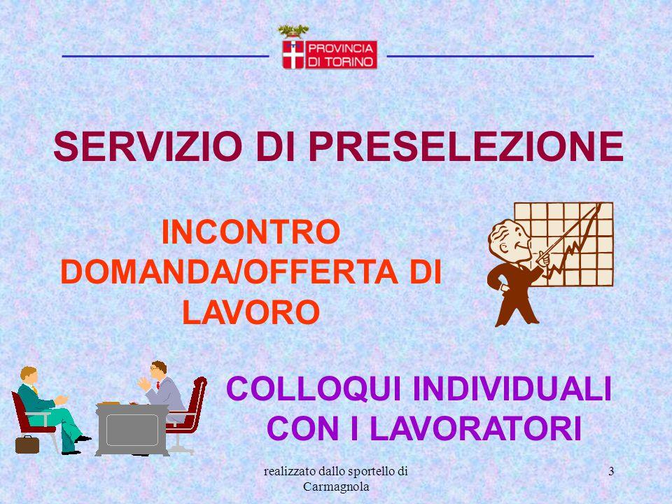 realizzato dallo sportello di Carmagnola 4 OBBLIGO SCOLASTICO E FORMATIVO Che cosa si fa al C.P.I..