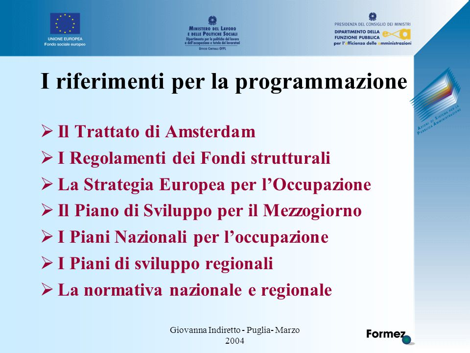 Giovanna Indiretto - Puglia- Marzo 2004 I riferimenti per la programmazione  Il Trattato di Amsterdam  I Regolamenti dei Fondi strutturali  La Strategia Europea per l'Occupazione  Il Piano di Sviluppo per il Mezzogiorno  I Piani Nazionali per l'occupazione  I Piani di sviluppo regionali  La normativa nazionale e regionale