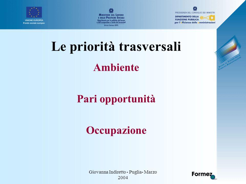 Giovanna Indiretto - Puglia- Marzo 2004 Le priorità trasversali Ambiente Pari opportunità Occupazione