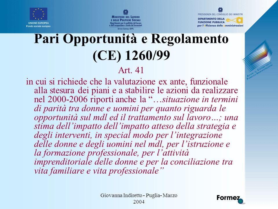 Giovanna Indiretto - Puglia- Marzo 2004 Pari Opportunità e Regolamento (CE) 1260/99 Art.