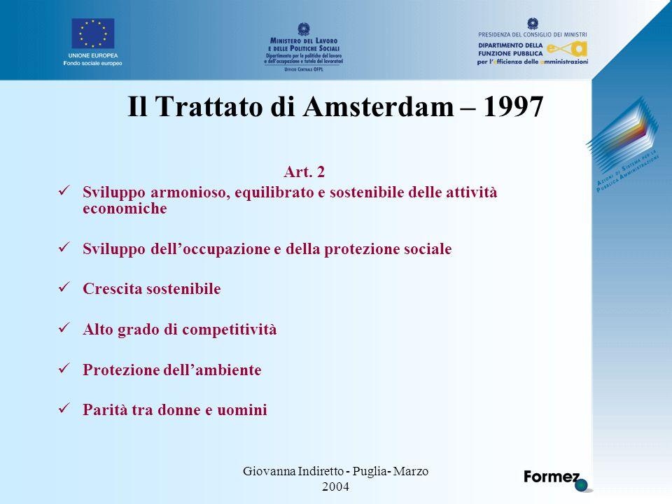 Giovanna Indiretto - Puglia- Marzo 2004 Il Trattato di Amsterdam – 1997 Art.