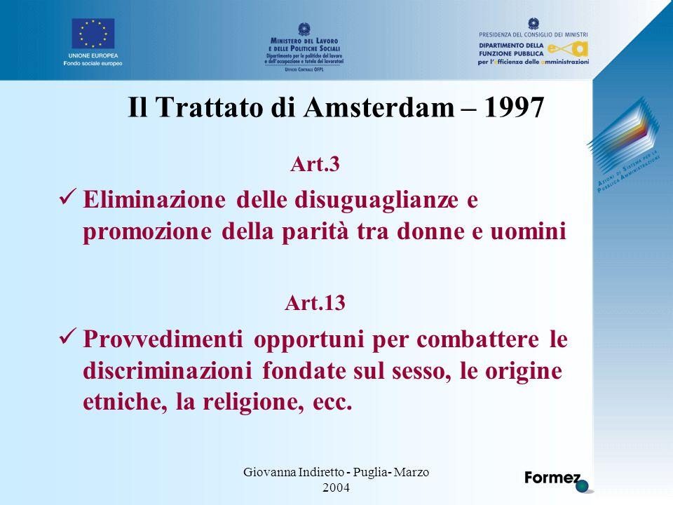 Giovanna Indiretto - Puglia- Marzo 2004 Il Trattato di Amsterdam – 1997 Art.3 Eliminazione delle disuguaglianze e promozione della parità tra donne e uomini Art.13 Provvedimenti opportuni per combattere le discriminazioni fondate sul sesso, le origine etniche, la religione, ecc.