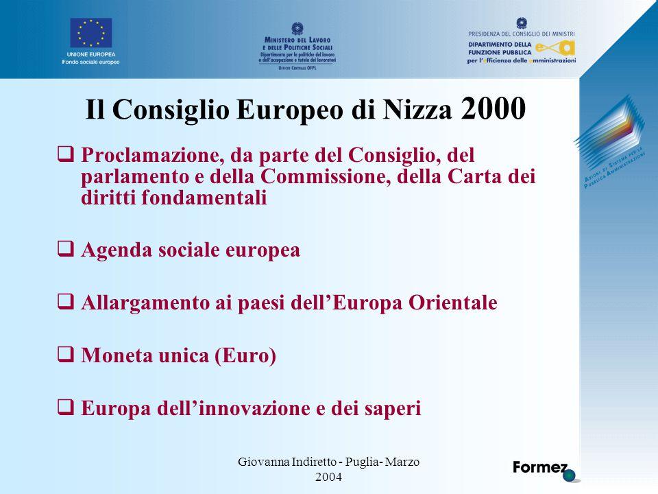 Giovanna Indiretto - Puglia- Marzo 2004 Il Consiglio Europeo di Nizza 2000  Proclamazione, da parte del Consiglio, del parlamento e della Commissione, della Carta dei diritti fondamentali  Agenda sociale europea  Allargamento ai paesi dell'Europa Orientale  Moneta unica (Euro)  Europa dell'innovazione e dei saperi
