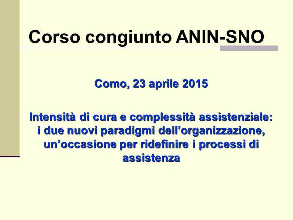 Corso congiunto ANIN-SNO Como, 23 aprile 2015 Intensità di cura e complessità assistenziale: i due nuovi paradigmi dell'organizzazione, un'occasione p