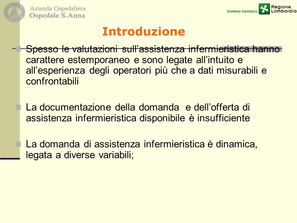Introduzione Spesso le valutazioni sull'assistenza infermieristica hanno carattere estemporaneo e sono legate all'intuito e all'esperienza degli opera