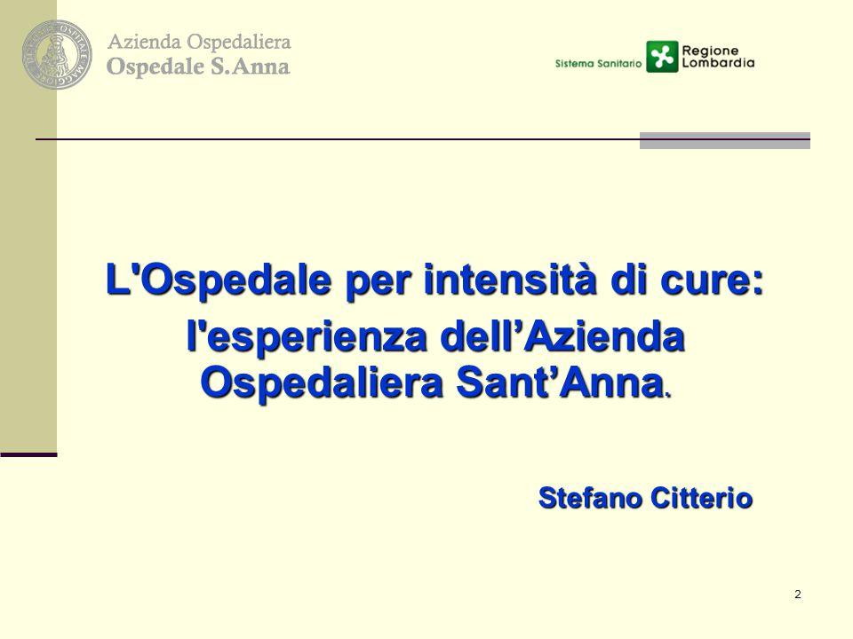 2 L'Ospedale per intensità di cure: l'esperienza dell'Azienda Ospedaliera Sant'Anna. Stefano Citterio