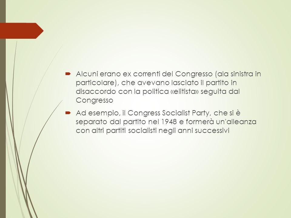  Alcuni erano ex correnti del Congresso (ala sinistra in particolare), che avevano lasciato il partito in disaccordo con la politica «elitista» seguita dal Congresso  Ad esempio, il Congress Socialist Party, che si è separato dal partito nel 1948 e formerà un alleanza con altri partiti socialisti negli anni successivi