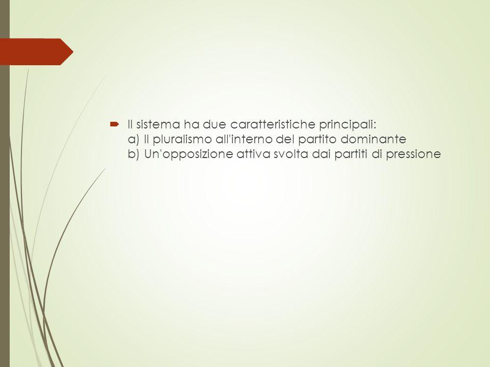 Il sistema ha due caratteristiche principali: a) Il pluralismo all interno del partito dominante b) Un opposizione attiva svolta dai partiti di pressione