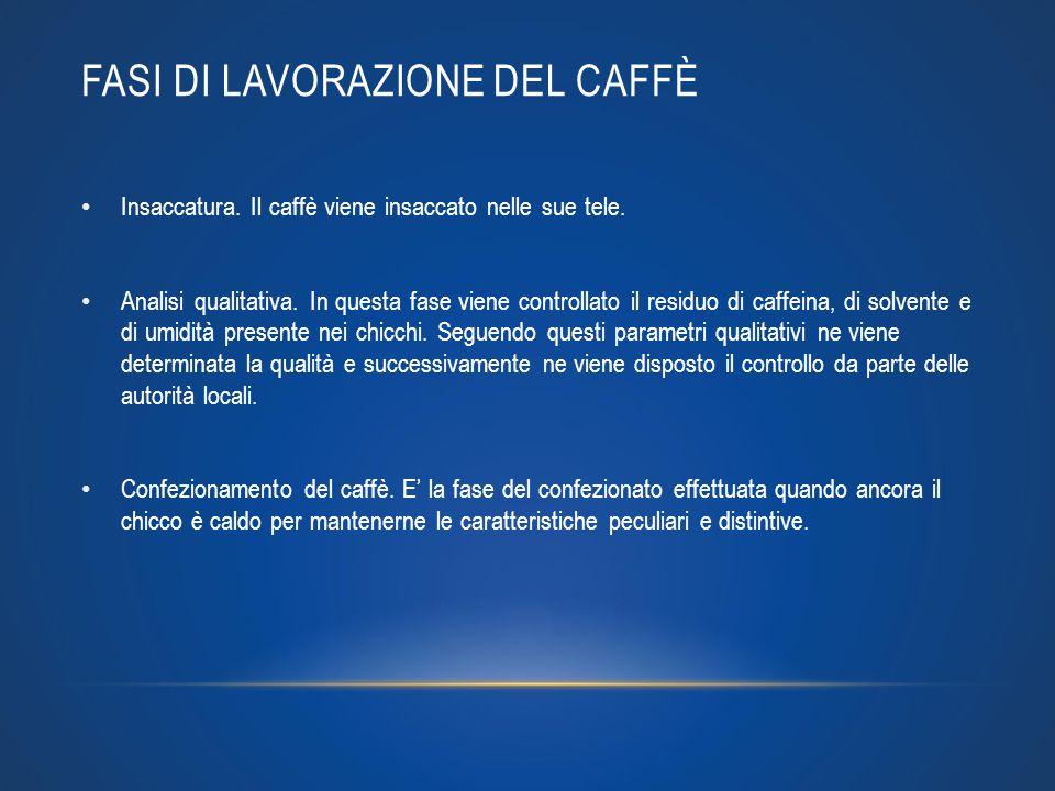 FASI DI LAVORAZIONE DEL CAFFÈ Insaccatura. Il caffè viene insaccato nelle sue tele. Analisi qualitativa. In questa fase viene controllato il residuo d
